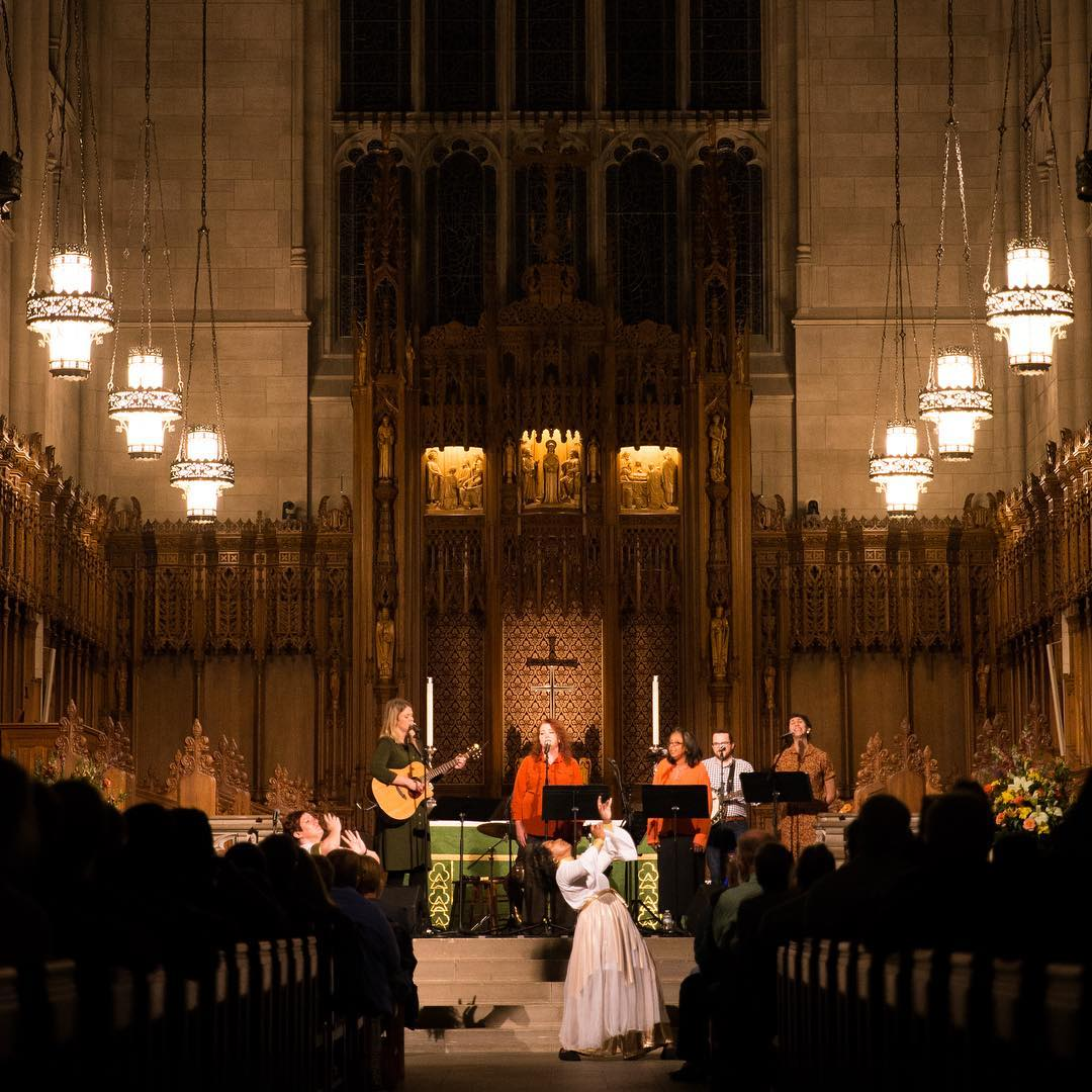 Stephanie Helms Pickett at Duke University Chapel ministering in dance