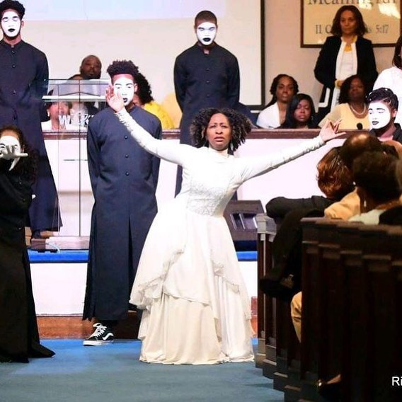 Stephanie Helms Pickett dancing at Wake Chapel Church on Sunday
