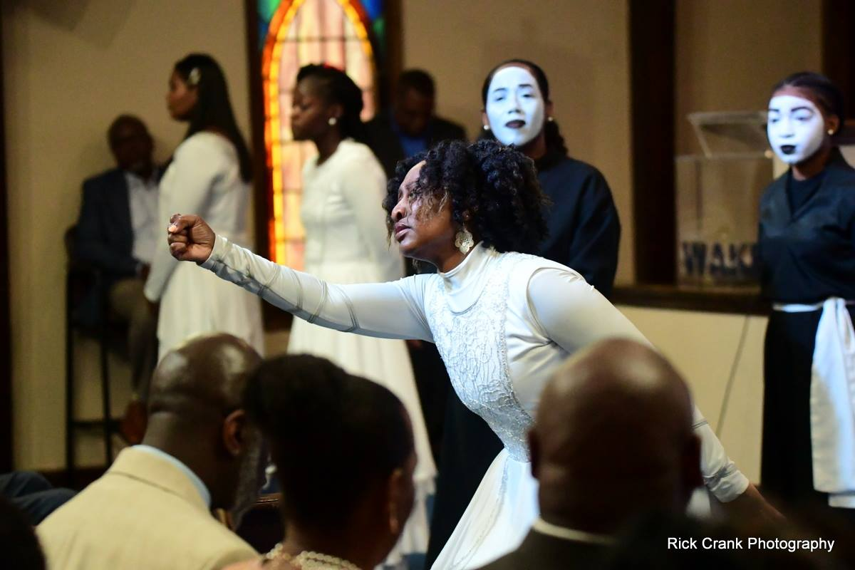 Stephanie Helms Pickett dancing on Sunday at Wake Chapel Church with mime ministry